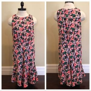 J Crew Mercantile Ruched Waist Dress Neon Floral